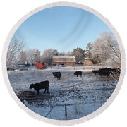 Frosty Barnyard Round Beach Towel