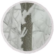 Frosty Branches Round Beach Towel