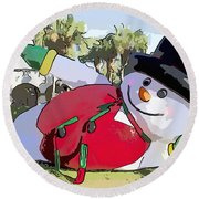 Frosty Is Here Round Beach Towel
