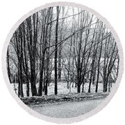 Frosty Morning At Dalmally  Round Beach Towel