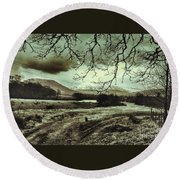 Frosty Morning At Glen'orchey   Round Beach Towel