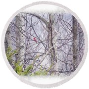 Frosty Morning Song Round Beach Towel