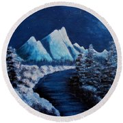 Frosty Night In The Mountains Round Beach Towel