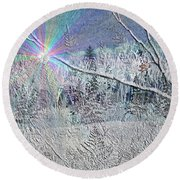 Frosty Window Distant Sun Round Beach Towel