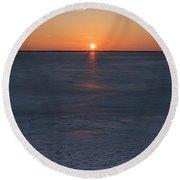 Frozen Bay Sunset Jersey Shore Round Beach Towel