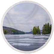 Frozen Bear Creek Lake Round Beach Towel
