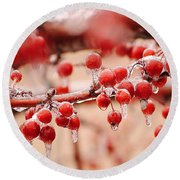Frozen Berries Round Beach Towel