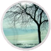 Frozen February Morning Round Beach Towel