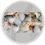 Frozen Fish On Ice Round Beach Towel