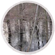 Frozen Forest Floor Round Beach Towel