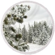Frozen Forest Round Beach Towel