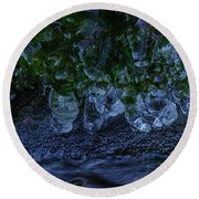 Icicle Garden  Round Beach Towel