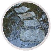 Slippery Stone Path Round Beach Towel
