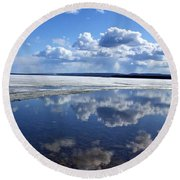 Frozen Lake Round Beach Towel