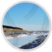 Frozen Lake Michigan Round Beach Towel