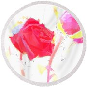 Frozen Rose Round Beach Towel