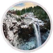 Frozen Snoqualmie Falls Round Beach Towel