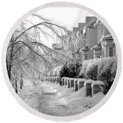 Frozen Suburbia Round Beach Towel