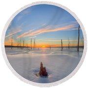 Frozen Sunrise V2 Round Beach Towel