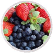 Fruit 2- Strawberries - Blueberries Round Beach Towel by Barbara Griffin