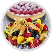 Fruit And Berry Tarts Round Beach Towel