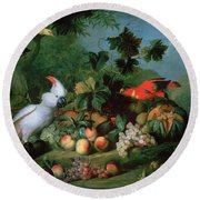 Fruit And Birds Round Beach Towel