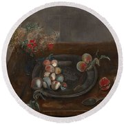 Fruit And Flowers On A Table Round Beach Towel