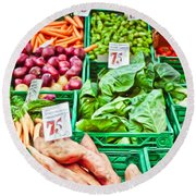 Fruit And Vegetable Stall Round Beach Towel
