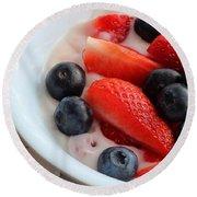 Fruit And Yogurt Snack 2 Round Beach Towel by Barbara Griffin