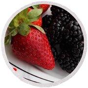 Fruit II - Strawberries - Blackberries Round Beach Towel by Barbara Griffin