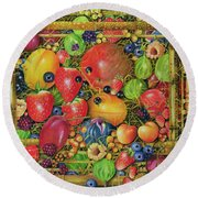 Fruit In Bamboo Box Round Beach Towel