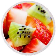 Fruit Salad Macro Round Beach Towel