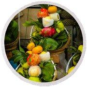 Fruit Stall In Vietnamese Market Round Beach Towel