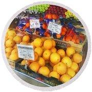 Fruit Stand Hoboken Nj Round Beach Towel