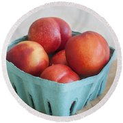 Fruit Stand Nectarines Round Beach Towel