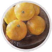 Fruit Still Life Oranges And Antique Silver Round Beach Towel