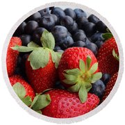 Fruit - Strawberries - Blueberries Round Beach Towel