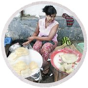Fruit Vendor On Street Yangon Myanmar Round Beach Towel