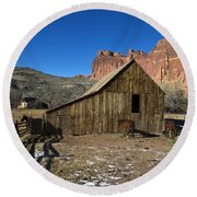 Fruita Horse Stable Capitol Reef National Park Utah Round Beach Towel