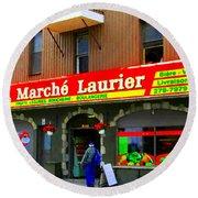 Fruiterie Marche Laurier Butcher Boulangerie De Pain Produits Quebec Market Scenes Carole Spandau  Round Beach Towel
