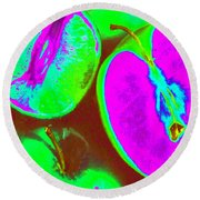 Fruitilicious - Lime And Green Apples - Photopower 1817 Round Beach Towel