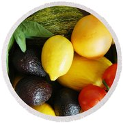 Fruits  And Vegetables  Round Beach Towel