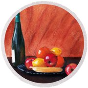 Fruits And Wine Round Beach Towel