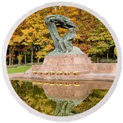 Fryderyk Chopin Statue In Warsaw Round Beach Towel
