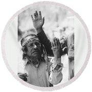 Ft. Apache Homage 1948 Ft. Apache Celebration Ft. Apache Arizona Saluting Apaches 1970 Round Beach Towel