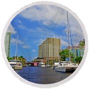 Ft. Lauderdale Canal Round Beach Towel
