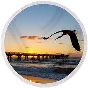 Ft Lauderdale Fishing Pier Round Beach Towel