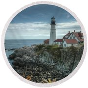 Ft. Williams Lighthouse Round Beach Towel