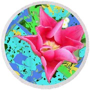 Fuchsia Tulip By M.l.d. Moerings 2012 Round Beach Towel