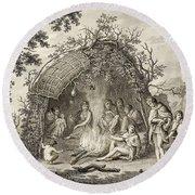 Fuegans In Their Hut, 18th Century Round Beach Towel